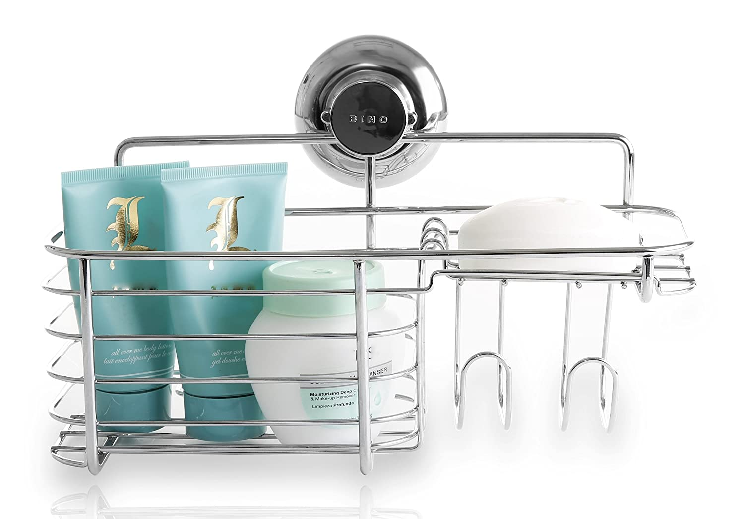 Amazon.com: BINO SMARTSUCTION Chrome Shower Caddy, Combo Basket ...