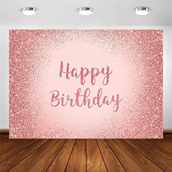 Pink Rose Gold Happy Birthday Backdrop Glitter Party Photo Background Banner