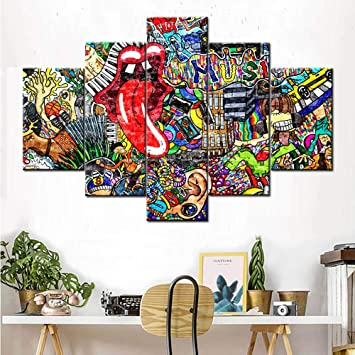 Graffiti Wall Art Paintings Wall Decorations for Living Room Music Collage  5 Panel Canvas Wall Art Pictures Home Decor for Bedroom Office Modern ...