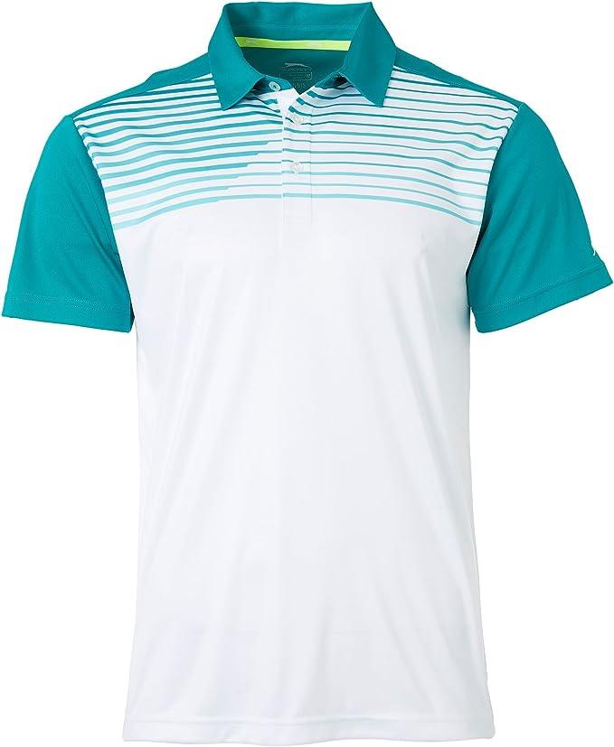 Slazenger hombre polo de tenis de impresión en el pecho (blanco ...