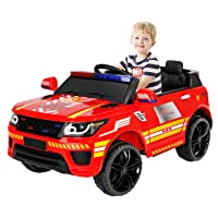 BAHOM Kids Ride On Police Car Toys 12V Battery Powered Electric Vehicle with 2.4G Remote, Real Megaphone Siren Flashing Light Horn (red)
