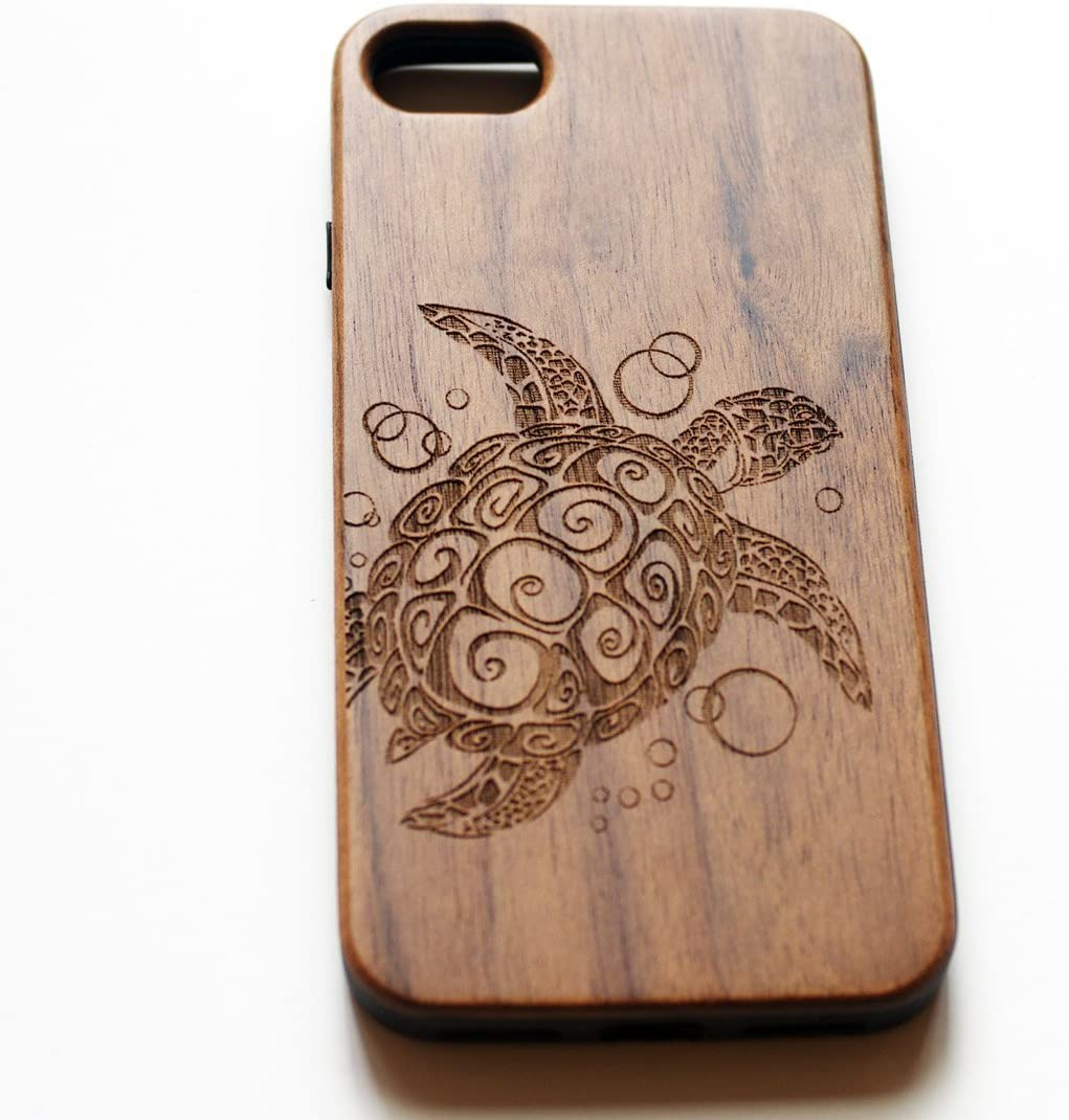 VIVIPOW Wood Phone Case Compatible iPhone 8 Case,Wooden Turtle Phone Case Compatible iPhone 8 (4.7') (Sea Turtle- Walnut)