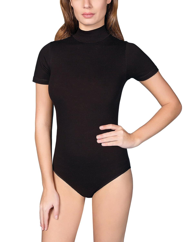 Damen body langarm shirt bluse schwarz weiß  ohne hakenverschluß