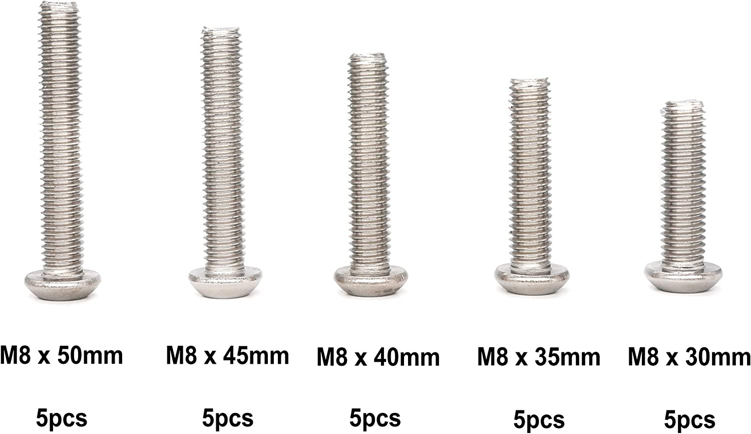 Qty 100 Button Post Torx M8 x 20mm Stainless T40 Security Screws Tamperproof
