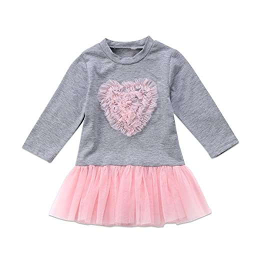 6029007c399 Glosun Toddler Kids Girls Fall Dress Heart Lace Long Sleeve Tutu Tulle  Skirt Casual Party Princess