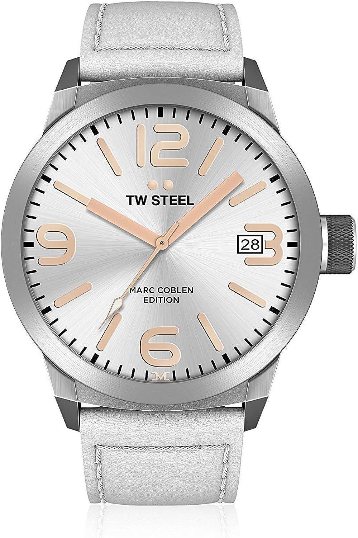 TW Steel Marc Coblen Edition - Reloj de pulsera con correa de piel y fecha, acero inoxidable, cuarzo, XXL, 50 mm