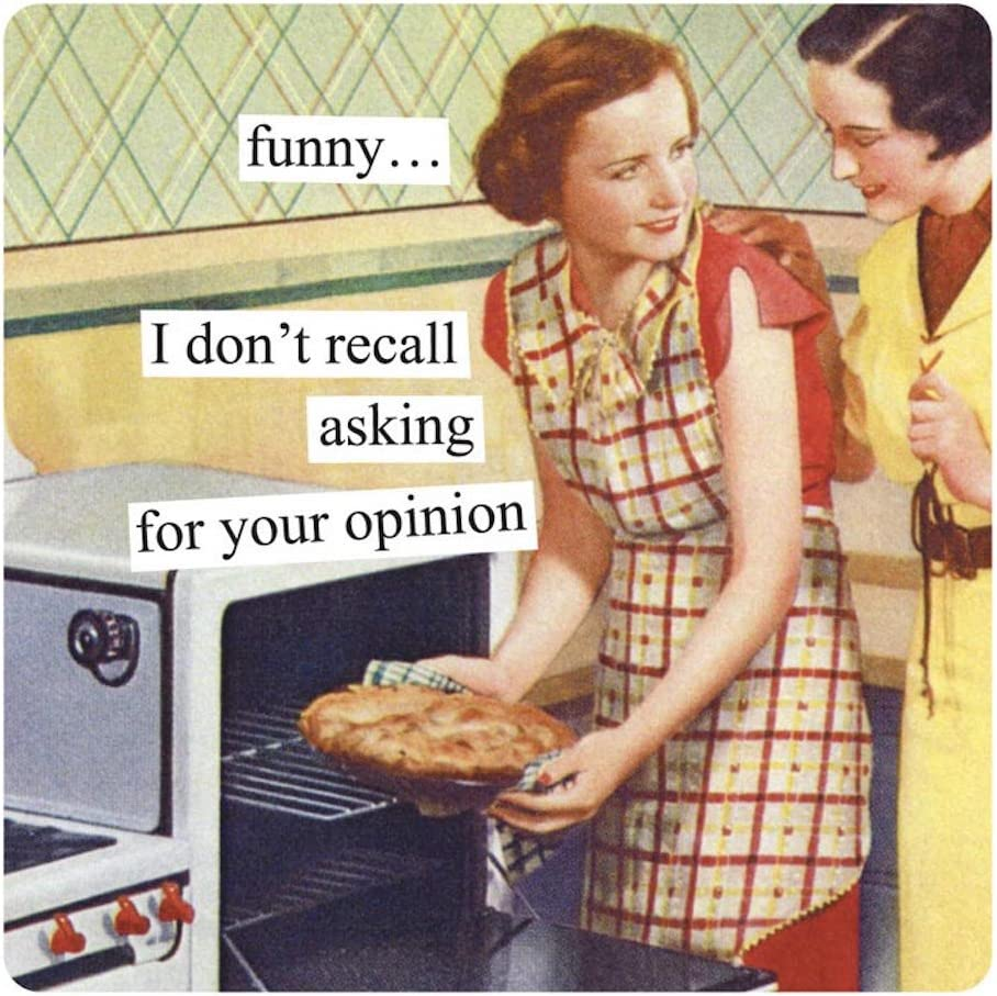 Anne Taintor Square Refrigerator Magnet - Funny I Don't Recall Asking For Your Opinion