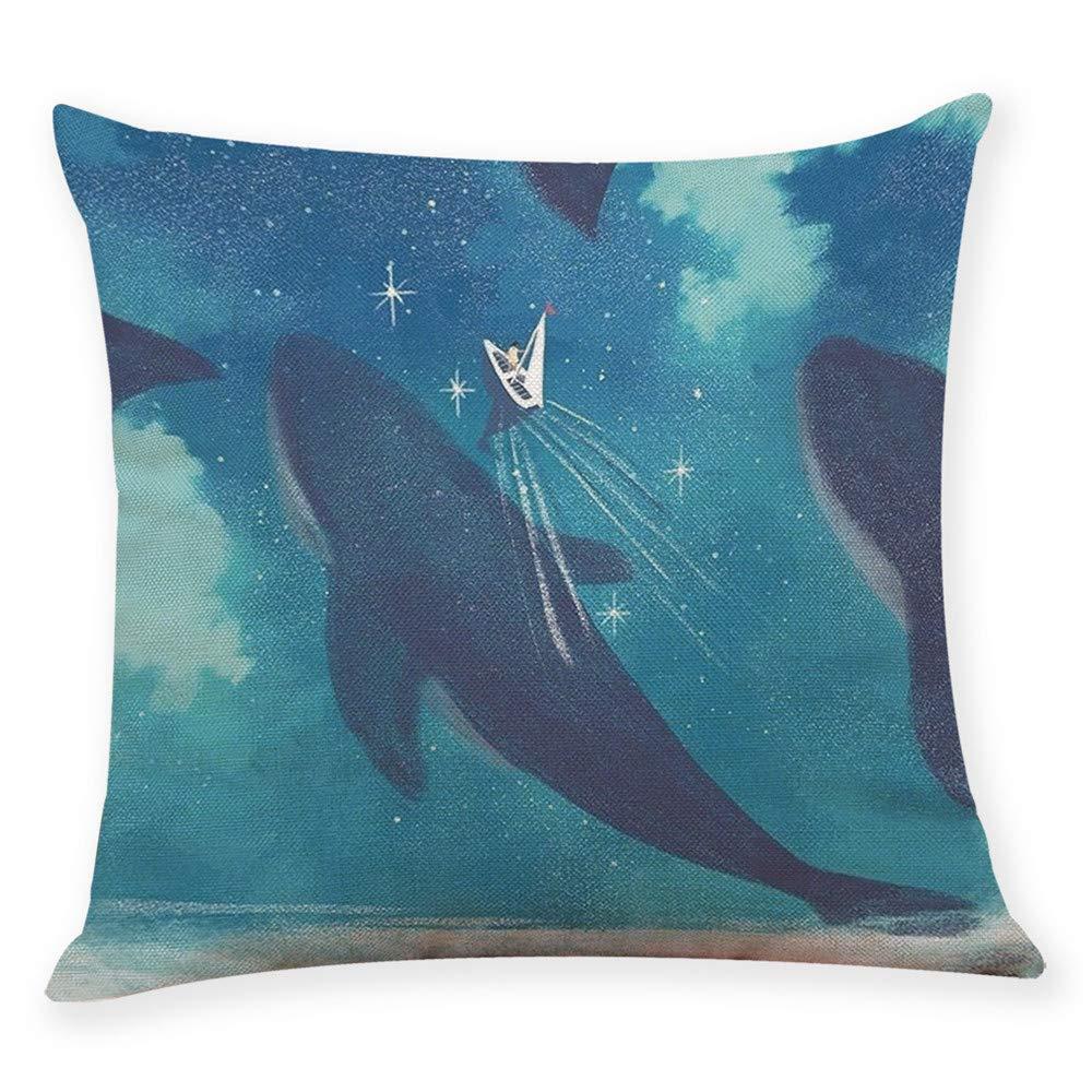 kingwo Taie d'oreiller de dé coration Housse de coussin style bande dessiné e grande baleine (H) kingwo-case