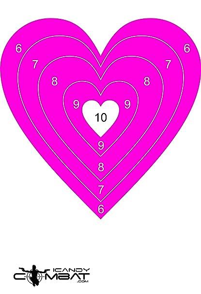 Amazon icandy combat heart hot pink bullseye paper target heart hot pink bullseye paper target pistol hand gun rifle targets altavistaventures Image collections