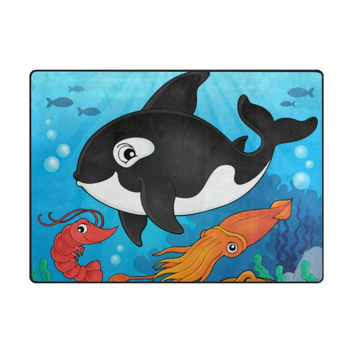 Vantaso Soft Foam Area Rugs Ocean Shark Octopus Non Slip Play Mats for Kids Boys Girls Playing Room Living Room 80x58 inch