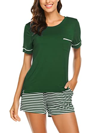 a5ff6630a832dc Unibelle Damen Pyjama Schlafanzug Baumwolle Kurz Nachtwäsche Nachthemd  Hausanzug Kurzarm V Ausschnitt für Sommer