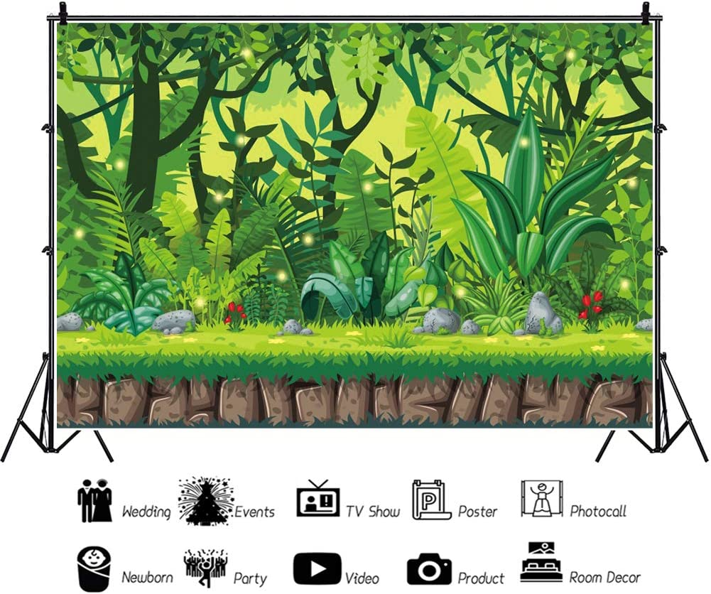 Haoyiyi 10x8ft Happy Birthday Background Cartoon Summer Tropical Desert African Forest Safari Backdrop Photography Photo Boys 1st Girl Party Bday Baby Shower Video Art Portrait Drape