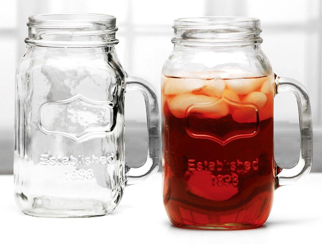 amazoncom glass mason jar mug pair extra large 38oz ea coffee cups u0026 mugs - Large Glass Jars