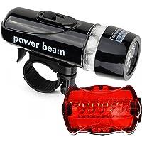 Daseey Conjunto de luzes dianteiras traseiras de bicicleta Lanterna de farol LED para bicicleta Kit de luz traseira para…
