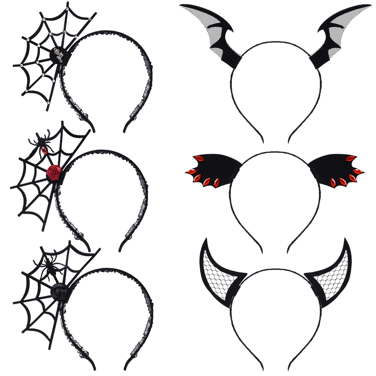 ZOYLINK 6 PCS Halloween Headwear - Spider Headband, Devil Headband and Bat Headband Carnival Carnival Halloween Girl Lady