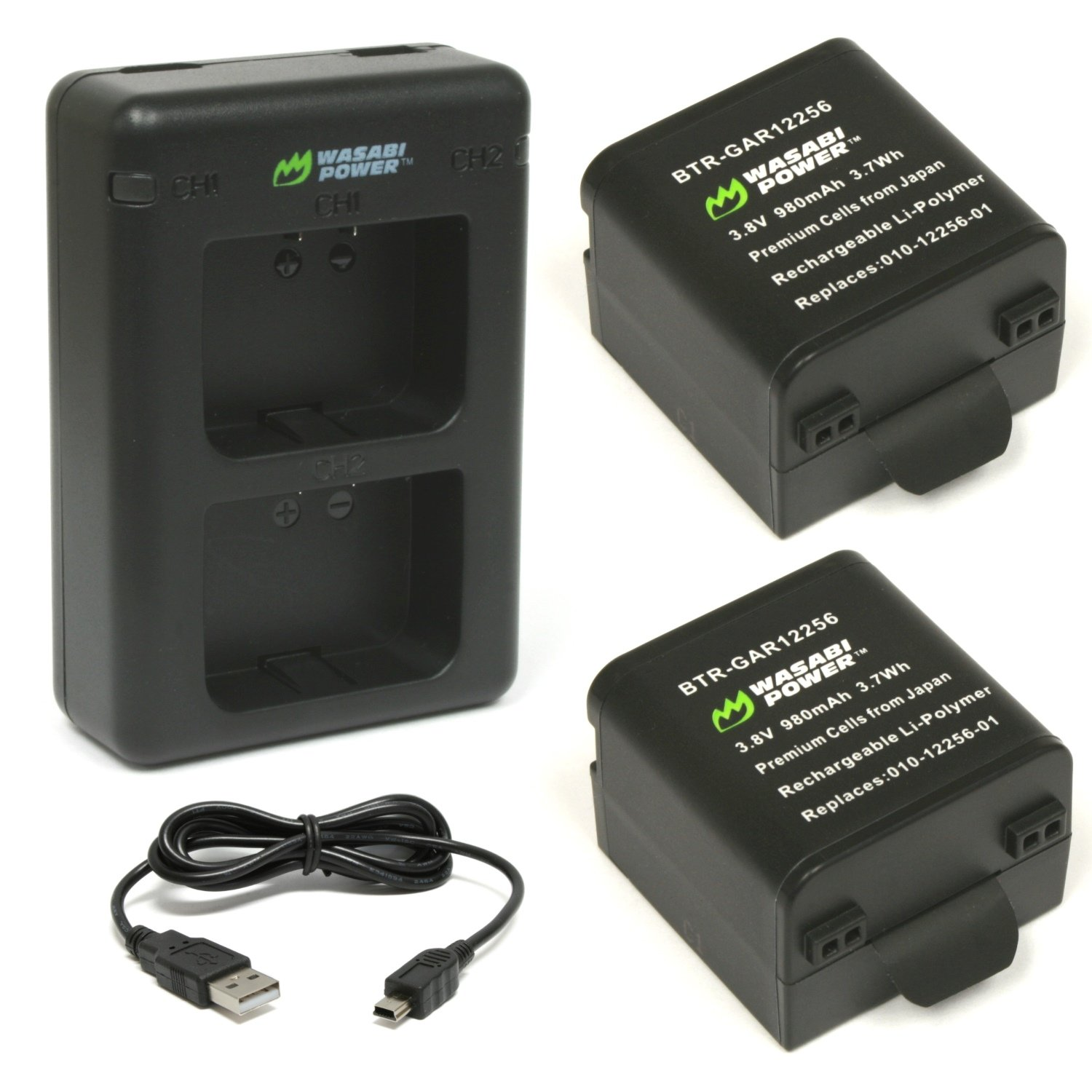 Wasabi Power Battery (2-Pack) and Dual Charger for Garmin 010-12256-01 and Garmin VIRB X, VIRB XE