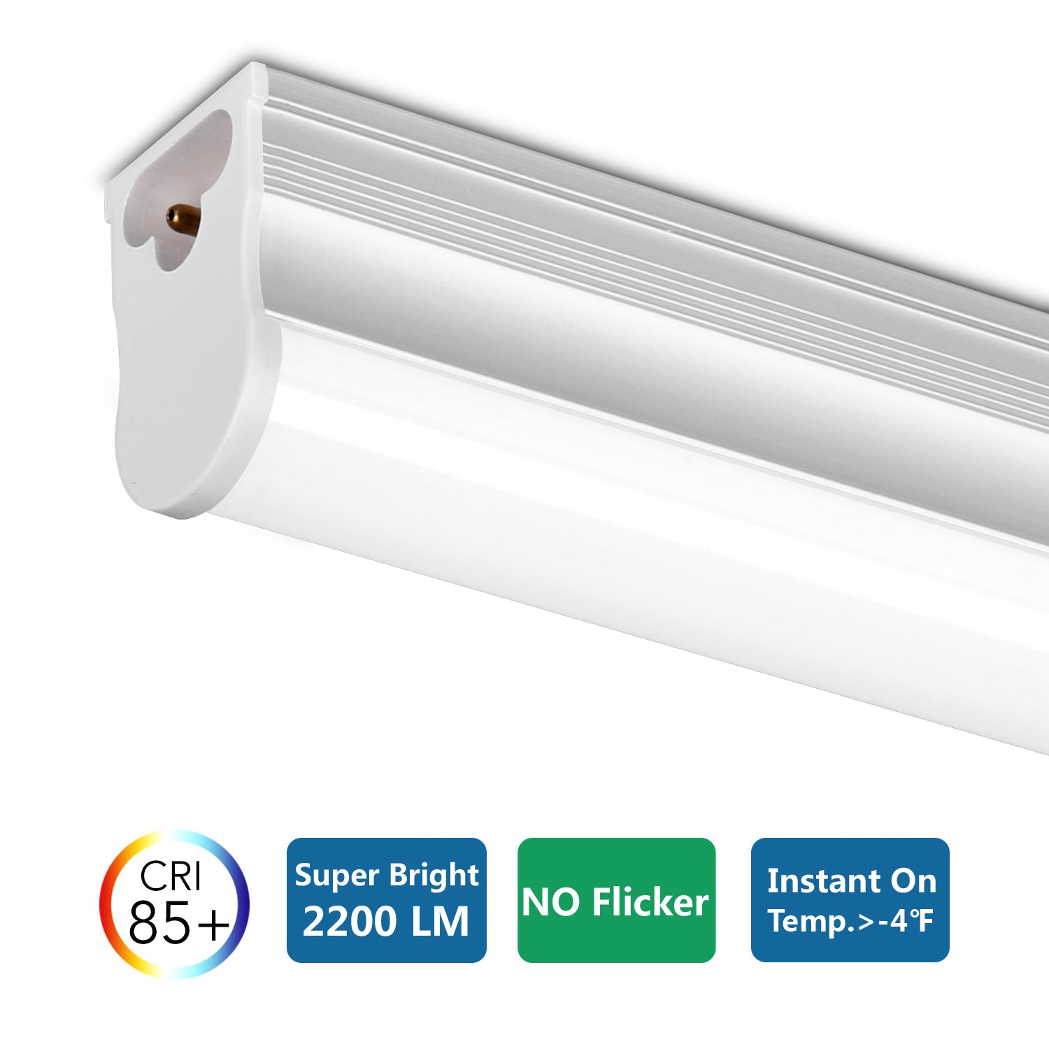 FrenchMay LED T5 mini utility linkable shop light 4ft, 22W, 85CRI, 2200Lumens, 5000K, 32w Fluorescent Equivalent, integrated ceiling light & under Cabinet shop light for garage, workshop, basement by FrenchMay (Image #7)