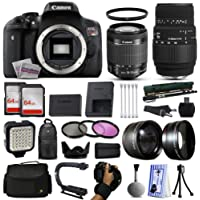 Canon EOS Rebel T6i DSLR Digital Camera + 18-55mm IS STM + Sigma 70-300mm Lens + 128GB Memory + 2 Batteries + Charger + LED Video Light + Backpack + Case + Filters + Auxiliary Lenses