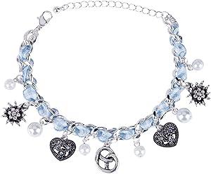 SIX Oktoberfest Damen Armband, Armschmuck, Gliederarmband, Bettelarmband, Anhänger, Perlen, Herzen, blau, Silber (748-642)