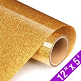 Glitter Heat Transfer Vinyl Rolls 12x60 Inch, Iron on Vinyl for T-Shirt Clothing by TransWonder(Golden Yellow)