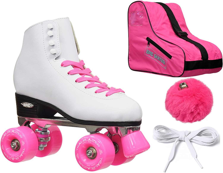 新しい。Epicクラシックホワイト&ピンクハイトップQuad Roller SkateバンドルW /バッグ、レース& Pom Poms、。  Ladies 9