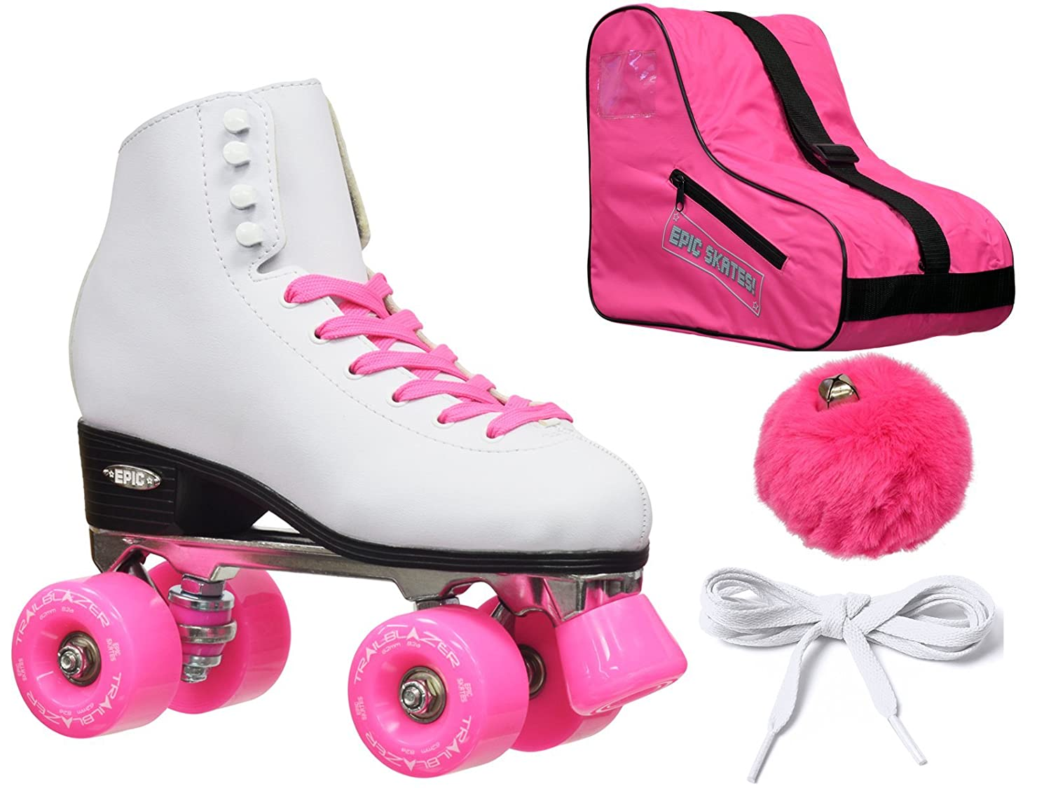 Epic Skates Epic White and Pink Classic High-Top Quad Roller Skate Bundle with Pink Skate Bag, Pompoms and 2 Pair of Laces