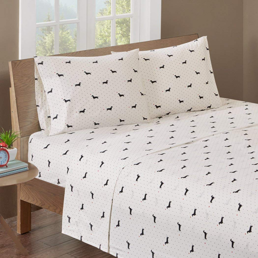 4 Piece Black Ivory Cute Doggy Print Sheets Queen Set, Beautiful All Over Classic Polka Dots, Lovely Dachshund Dog, Red Hearts, Pet Animal Print, Features Fully Elasticized Fitted, Deep Pocket, Cotton by D&A