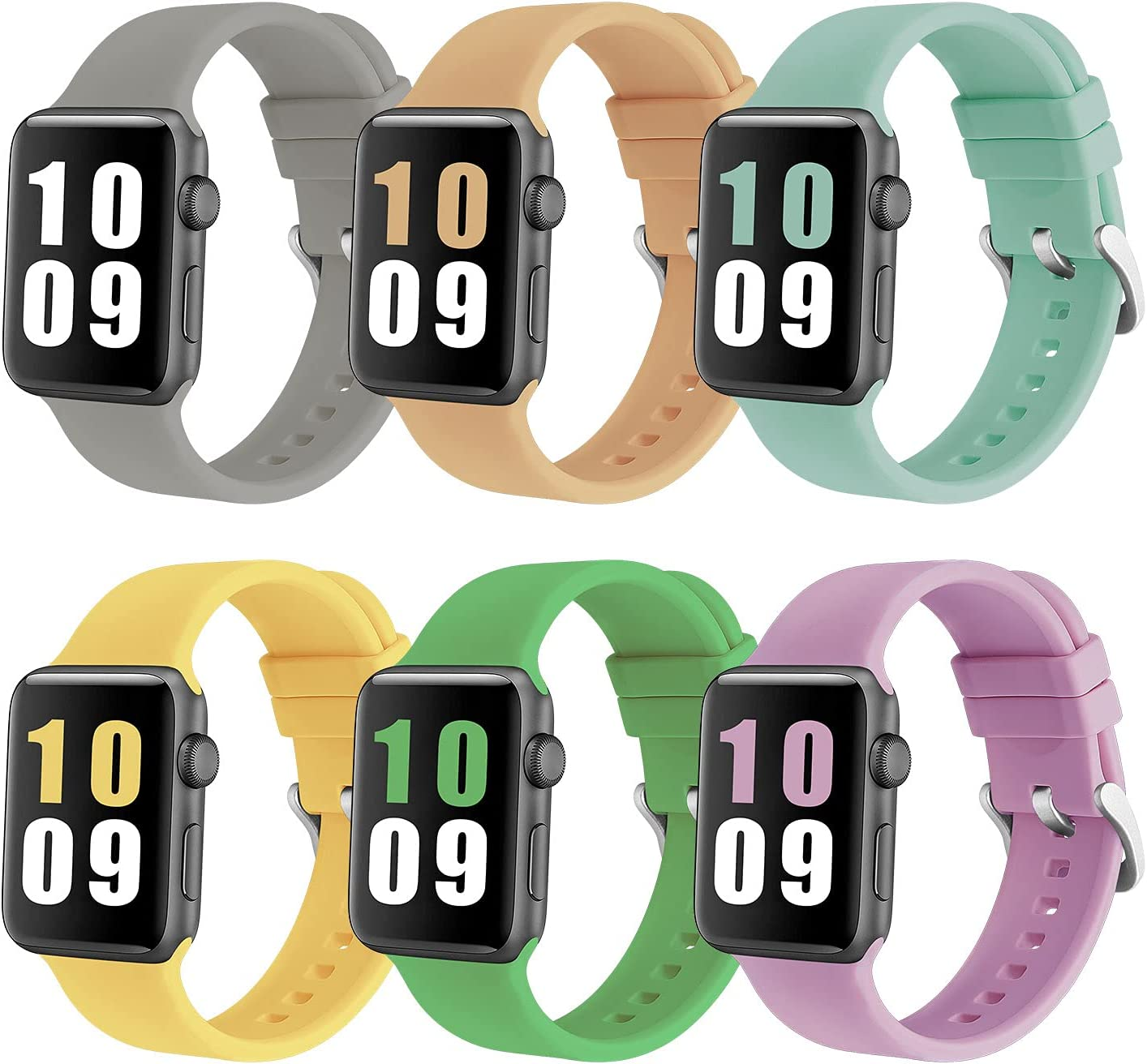 PROSRAT 6-Pack Sport Straps Compatible With Apple Watch Bands 38mm 40mm 42mm 44mm,Soft Silicone Replacement Bands for iWatch Series 6/SE/5/4/3/2/1 for Women Men (Gray/Walnut/Turquoise/Mint Green/Yellow/Lavender, 42mm/44mm)