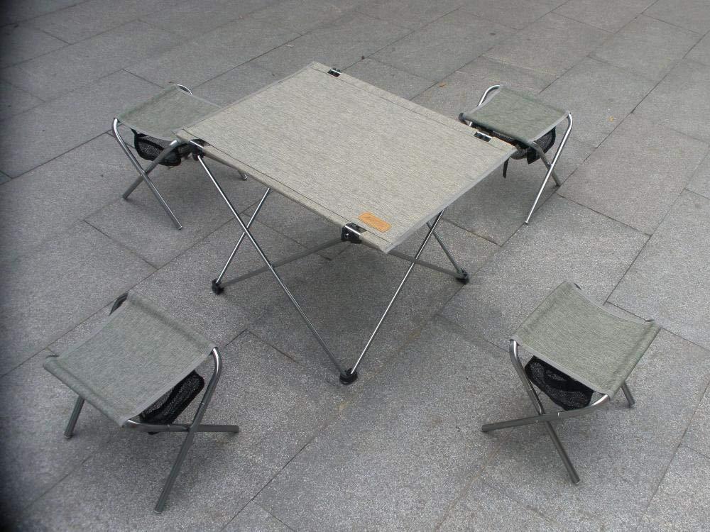 Mzl Outdoor-Falten Camping Ultra Light fünfteilige Set Luftfahrt Aluminium Ultralight Tragbare Camping Outdoor-Falten Tisch und Stuhl 4 + 1 Set Freizeit 5559dc