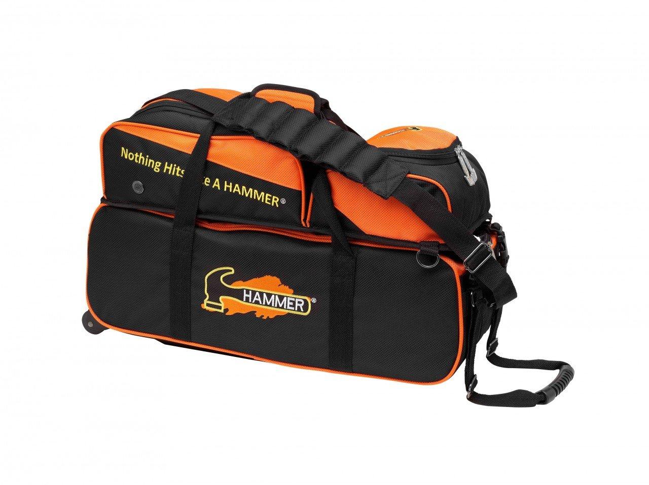 Hammer Premium Triple Roller Bowling Bag, Black/Orange by Hammer