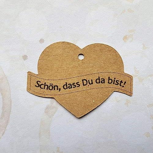 25 Geschenkanhänger Etiketten Tags Herz Hochzeit Taufe Kommunion Konfirmation