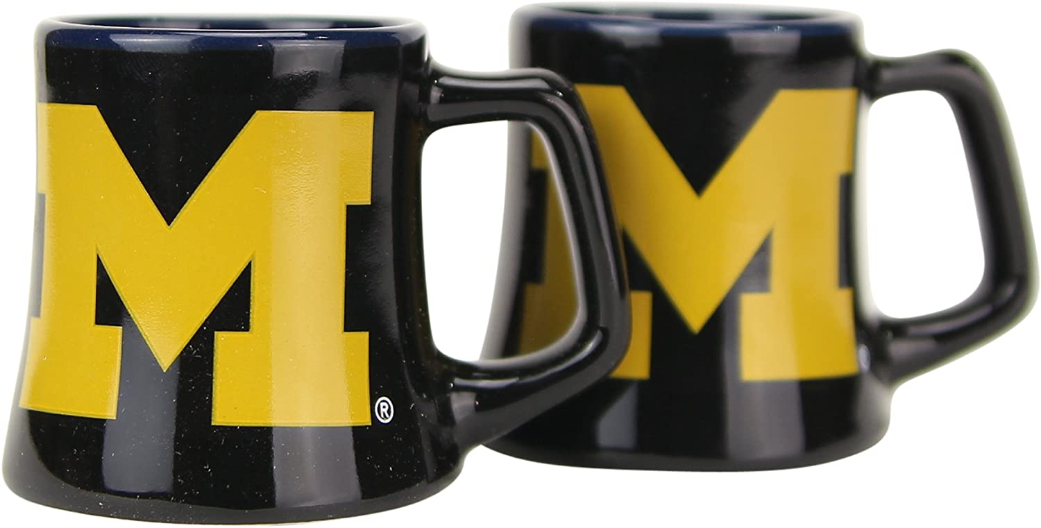 NCAA Full Color Sclupted Mug 2oz Shot Glass 2-Pack (Michigan Wolverines)