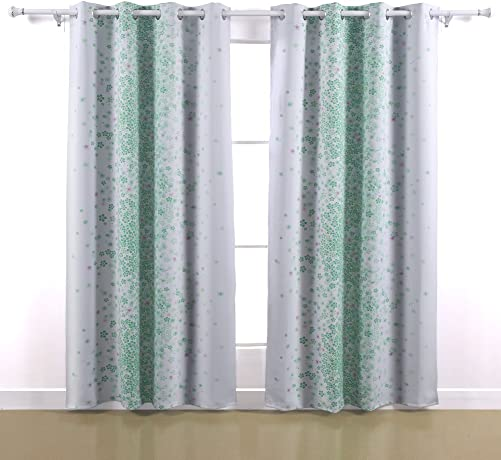 Deconovo Green Spring Floral Design Window Blackout Curtain 52 x63 ,1 Pair
