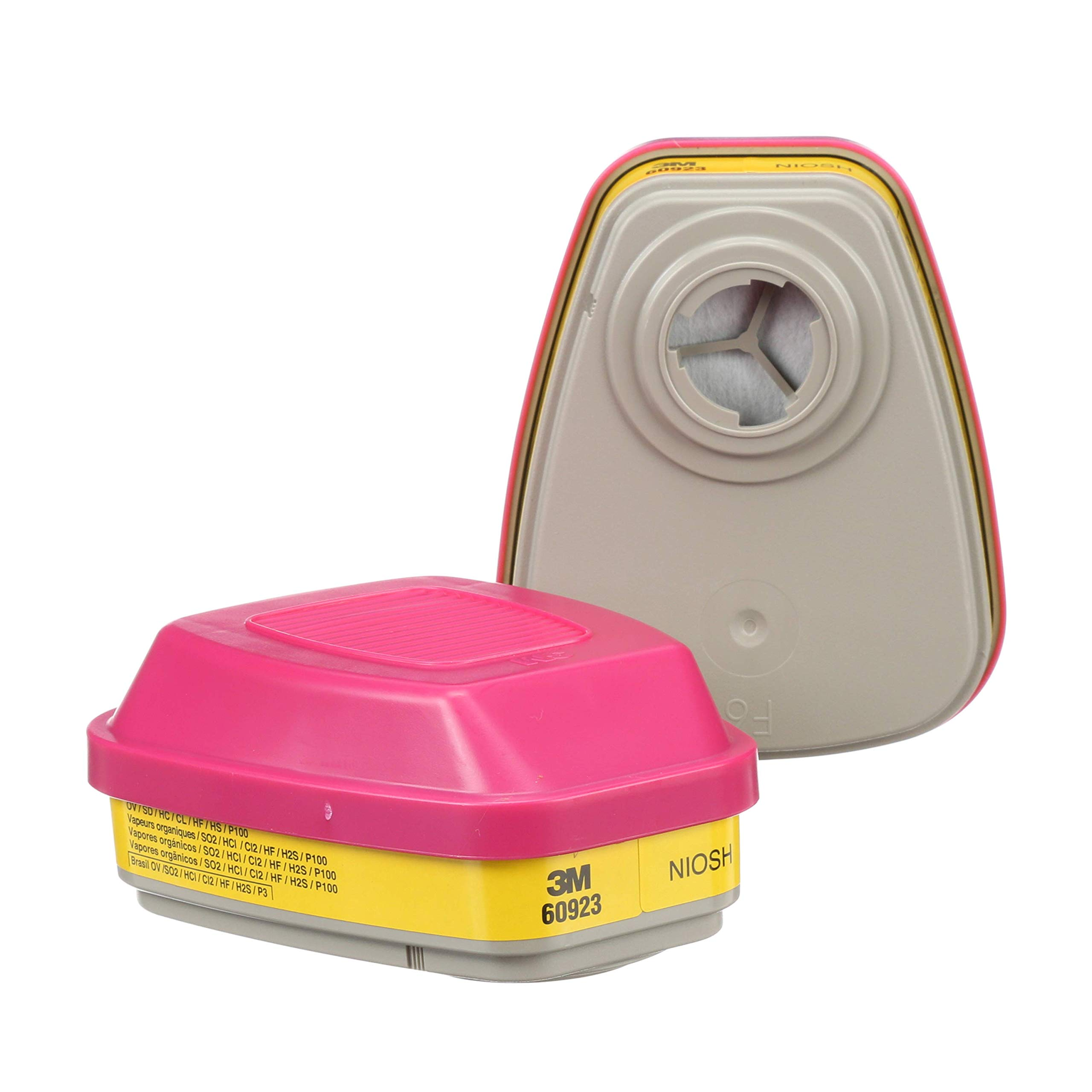 3M Organic Vapor/Acid Gas Cartridge/Filter 60923, P100 Respiratory Protection (Pack of 2)