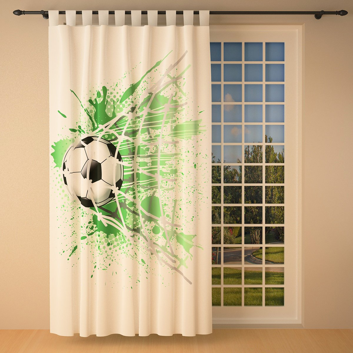 Clever-Kauf-24 Vorhang Gardine für das Kinderzimmer Fußball weiß BxH 145 x 245 cm   Sichtschutz   Lichtdurchlässig   Schlaufenschal fürs Vereinsheim