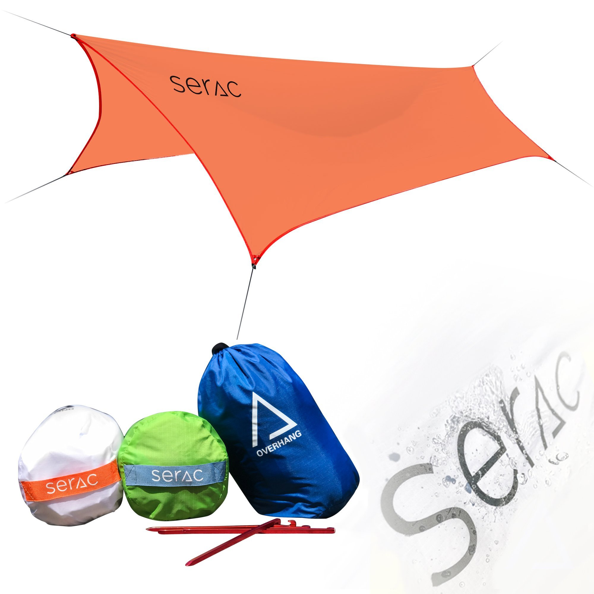 Serac [#1 Hammock and Tent Tarp] Ultralight Hammock Rain Fly and Shelter Perfect for Waterproof Camping, Lightweight Backpacking and Portable for Travel (Red/Orange) by Serac