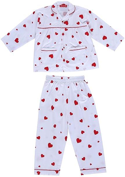 Piccalilly pijama, jersey orgánico de algodón, niñas, corazón