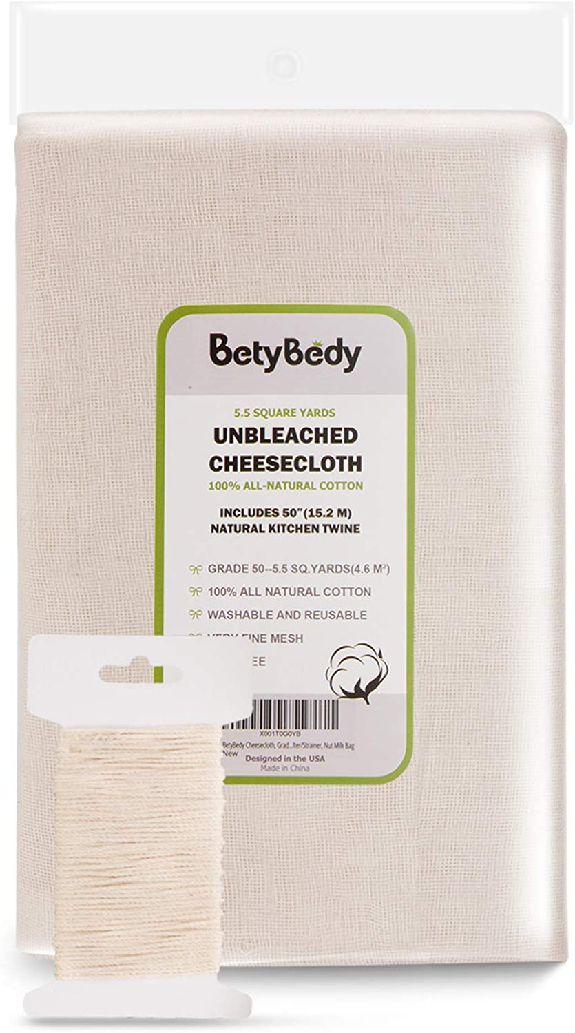 BetyBedy Cheesecloth, Grade 50 (5.5 Yards/49.5 Sq. Feet) Unbleached Cotton Fabric with 50 Feet Cooking Twine, Washable and Reusable Strainer for Cheesemaking, Food Filter/Strainer, Nut Milk Bag