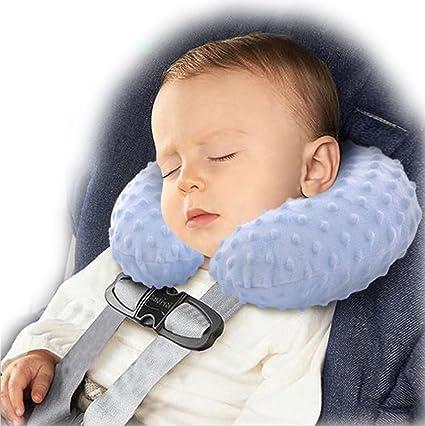BlueBeach® Bebé Niños Almohada de viaje inflable para el cuello Sueño adicional cómodo y cojín suave Cuello del resto de la cabeza de la ayuda para el ...