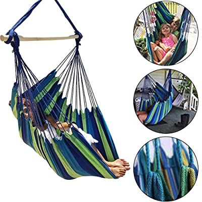 N/X Sky Large Brazilian Hammock Chair Cotton Weave - Extra Long Bed - Hanging Chair for Yard, Bedroom, Porch, Indoor/Outdoor (Blue & Green): Garden & Outdoor