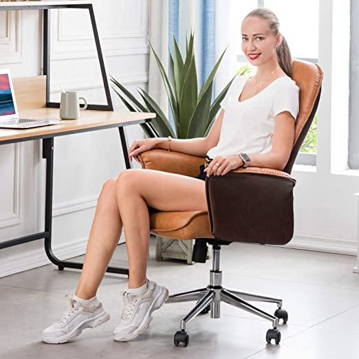 Dark Grey Modern Computer Desk Chair,high Back Leathe Office Chair with Lumbar Support for Executive or Home Office XIZZI Ergonomic Chair