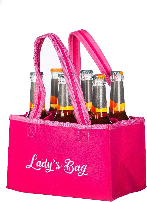 Damen Flaschentasche Filz 6er Bierträger Flaschenkorb Biertasche Geschenkidee