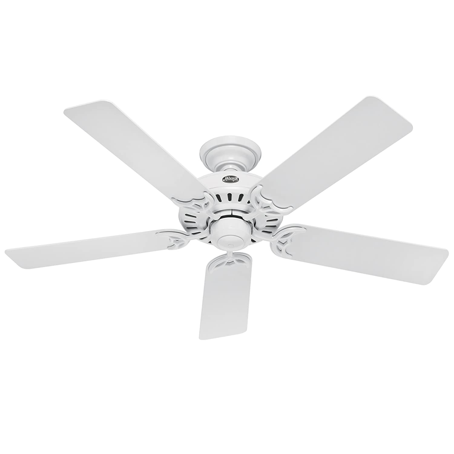Hunter 25517 Summer Breeze 52 Inch 5 Blade Ceiling Fan, White With  White/Bleached Oak Blades   Quiet Ceiling Fan For Bedroom   Amazon.com