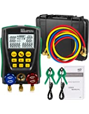 Refrigeration HVAC Digital Manifold System Gauge Set, High-Precision Vacuum Pressure Temperature Leakage Tester Dignostic Meter Kit for Testing Maintaining Air-Conditioner, Refrigerator (DY517A)