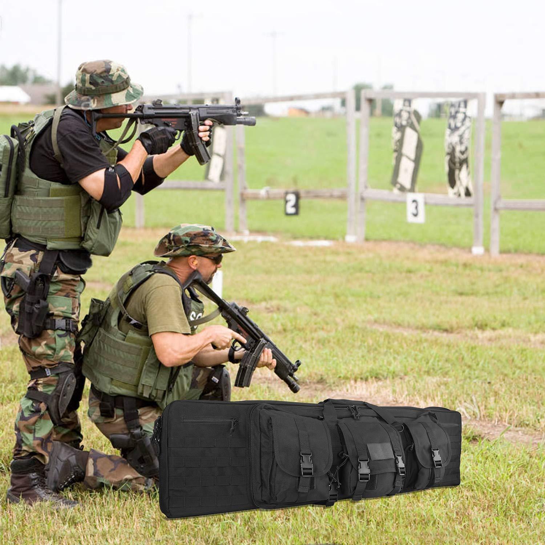 Negro ProCase Bolsa para Doble Rifle 36 Bolso T/áctico de Lona para Fusil Escopeta Larga Compartimiento con Cierre para Cargador Munici/ón Accesorios