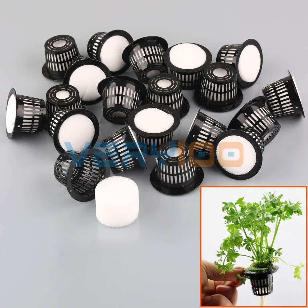 Best Garden Tools 20Set Dia.43mm Mesh Pot Net Basket+Clone Collar Foam Insert Hydroponic Aeroponic Plant