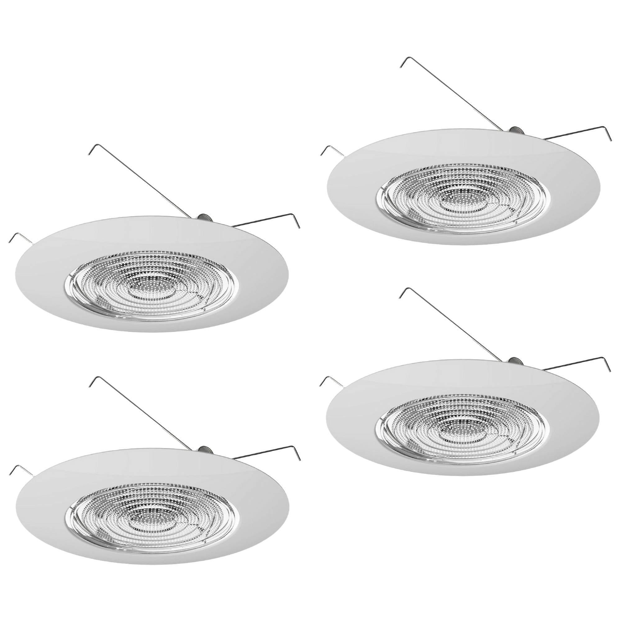 Four-Bros Lighting FLP 6'' Inch Fresnel Glass Lens with White Plastic Trim-60 Watt Max. -for Wet Locations (Pack of 4)