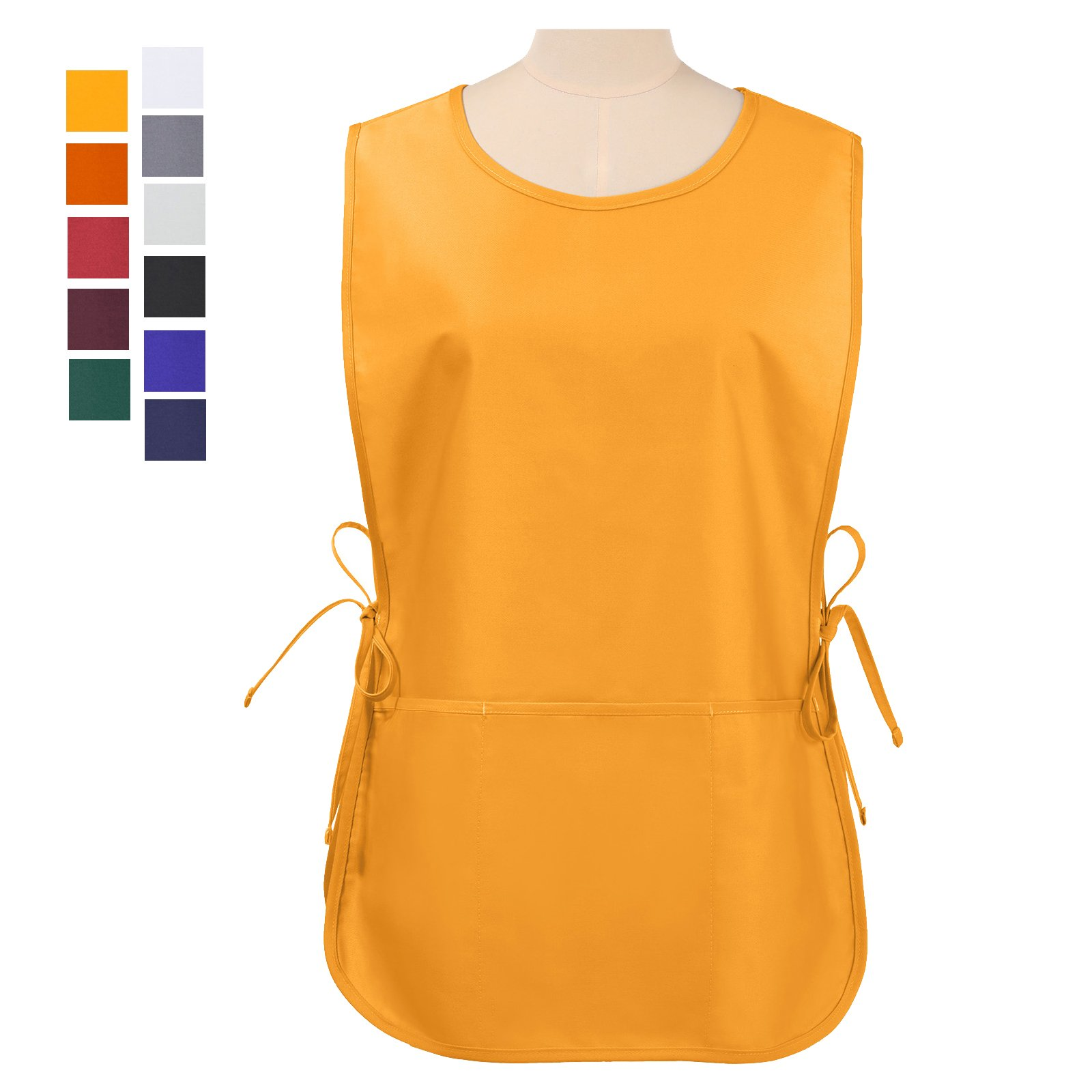 VEEYOO Chef Cobbler Apron with 3 pockets, Polyester Cotton, Art Smock Aprons for Unisex Adult Men Women, Mustard, Regular 20x28 inches by VEEYOO