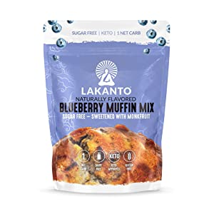 Lakanto Blueberry Muffin Mix - Sugar Free, Naturally Flavored, Healthy Keto Friendly, Sweetened with Monkfruit Sweetener, 1 Net Carb, Gluten Free, Breakfast Food, Easy to Make (12 Servings)