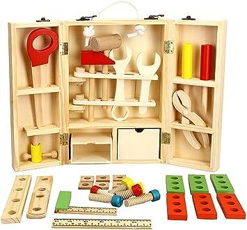 Lewo Juego de Accesorios y Caja de Herramientas de Madera Juego de Juegos de Pretensiones Juguetes Educativos de Construcción para Niños: Amazon.es: Juguetes y juegos